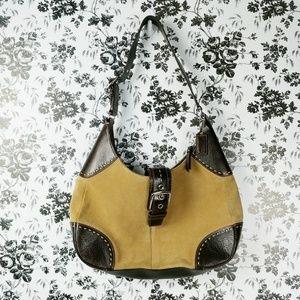 Coach tan espresso suede contrast stitch hobo bag